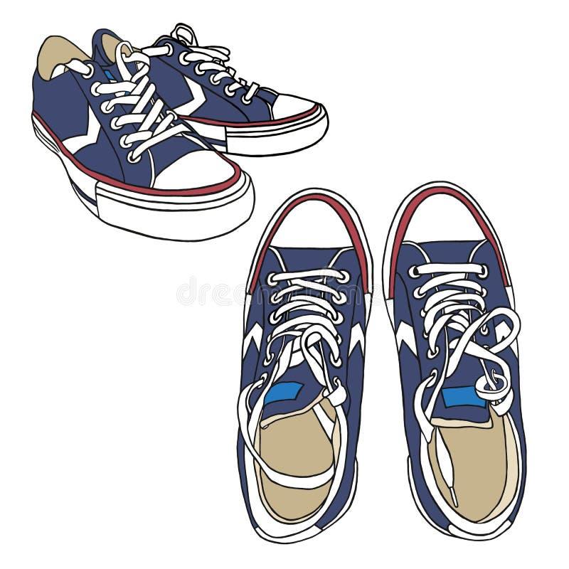 Ustalonych błękitnych sneakers sporta Pociągany ręcznie buty na białym tle Dla plakata Lub druku Na, Odziewa Moda & styl Kresk?wk ilustracja wektor