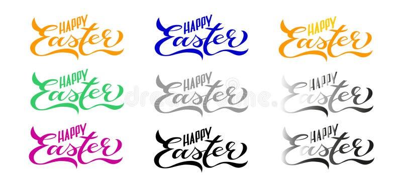 9 Ustalonych Szczęśliwych Wielkanocnych kart: Ręcznie pisany literowanie royalty ilustracja