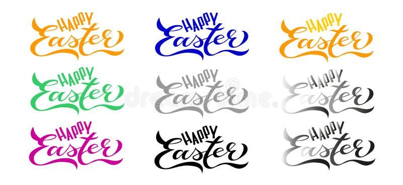 9 Ustalonych Szczęśliwych Wielkanocnych kart: Ręcznie pisany literowanie ilustracja wektor