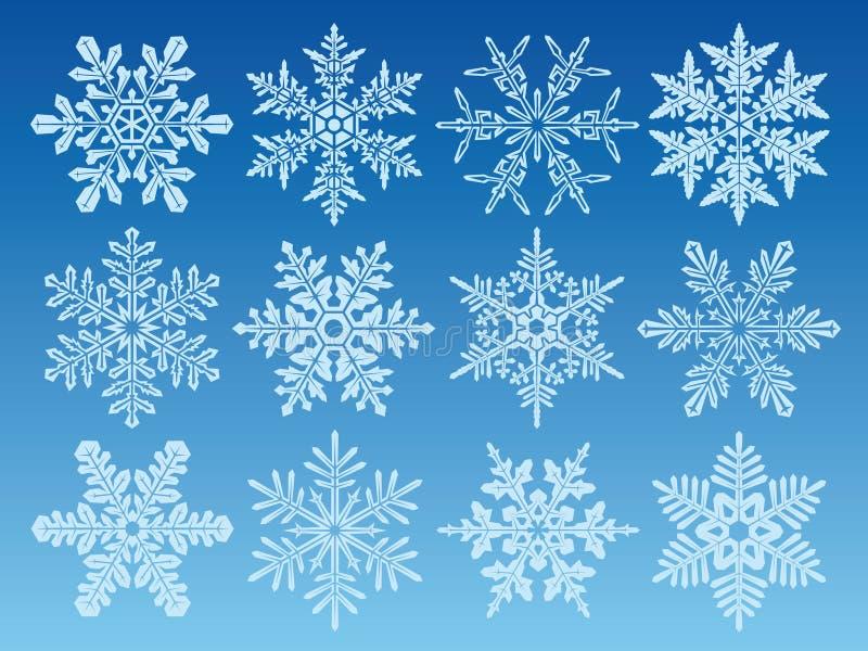 ustalonymi ikoną płatki śniegu royalty ilustracja