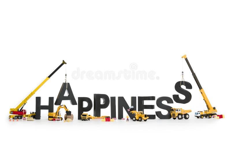 Ustanawia szczęście: Maszyny buduje słowo. zdjęcia royalty free