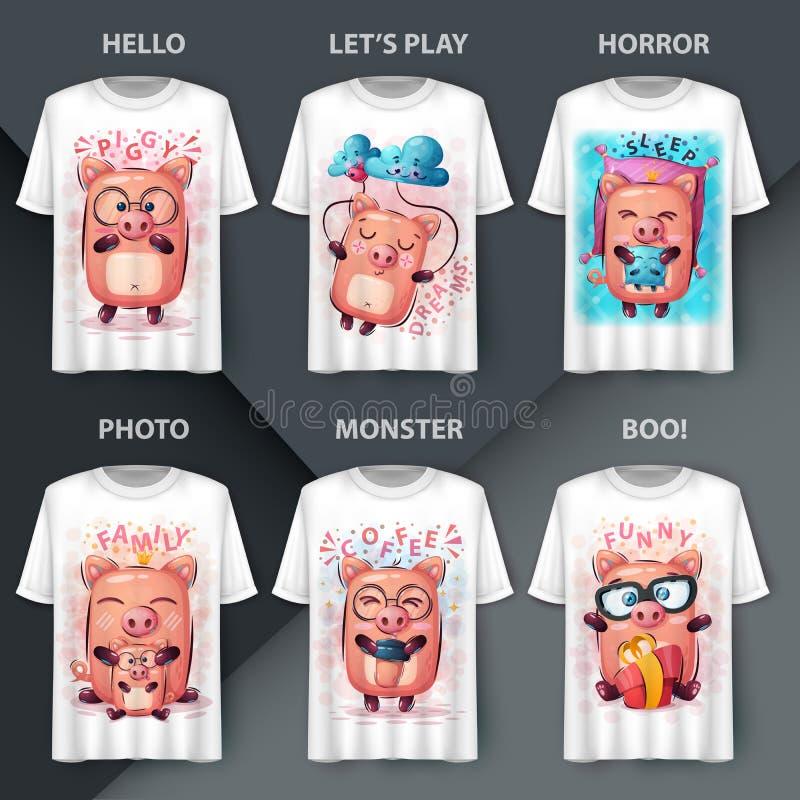 Ustaw świnkę — pomysł na drukowanie t-shirta ilustracji