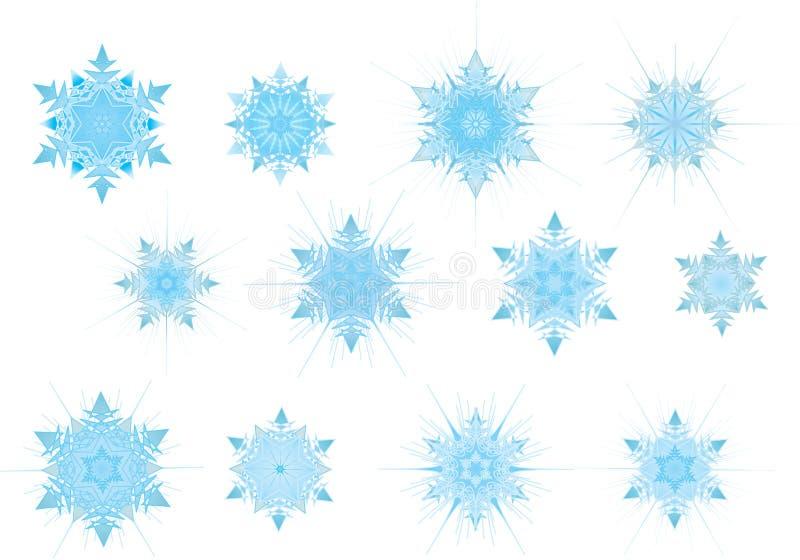 ustaw snowflak blue światła ilustracji