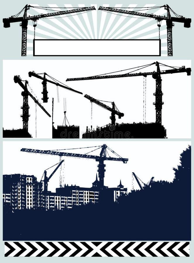 ustaw wektor crane sylwetki ilustracji