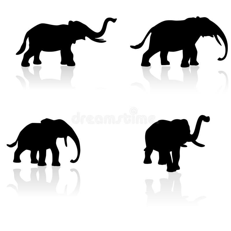 ustaw wektor słoń sylwetki ilustracja wektor
