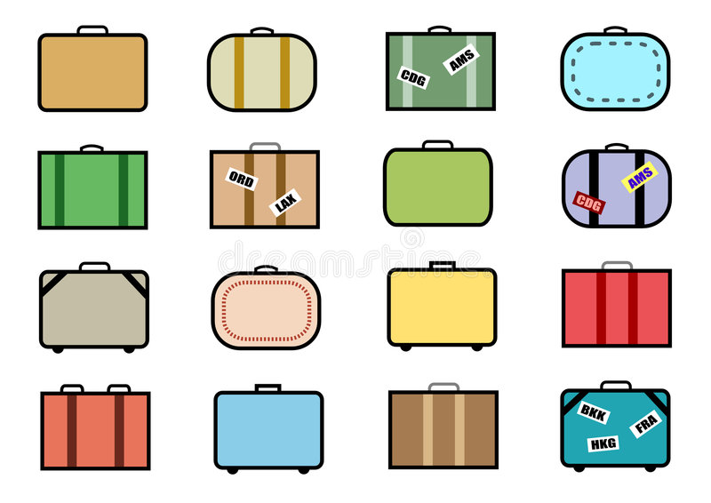 ustaw wektor walizki ikony royalty ilustracja