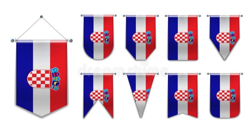 Ustawić chorwackie bandery wiszące z teksturą tekstylną Różnorodność kształtów państwa bandery Pionowy Pennant Szablon zdjęcie stock