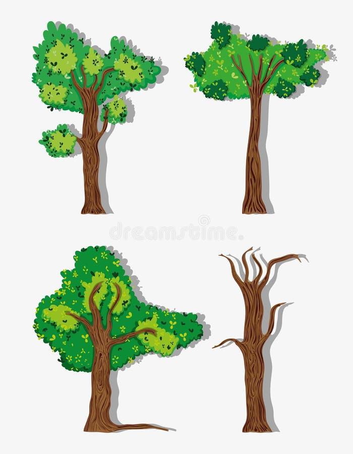 ustawić drzewa royalty ilustracja