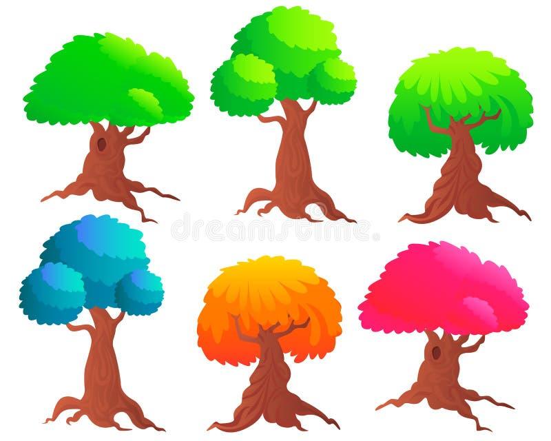 ustawić drzewa ilustracja wektor