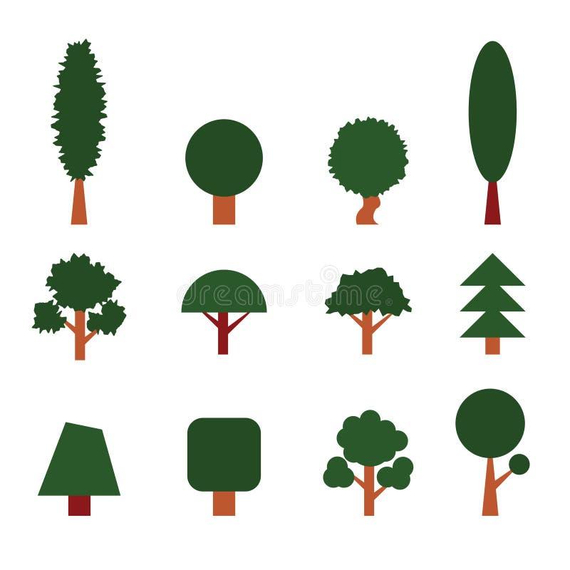 ustawić drzewa elementy projektów zbierających zielony logo ustawić symbole royalty ilustracja