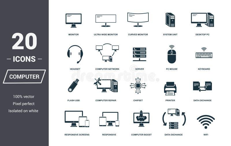 ustawić symbole komputerowych Premii ilości symbolu kolekcja Komputerowej ikony ustaleni prości elementy Przygotowywa używać w si ilustracji
