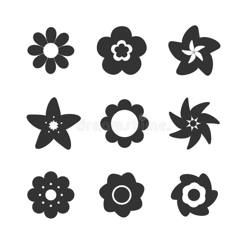 ustawić symbole kwiat ilustracja wektor