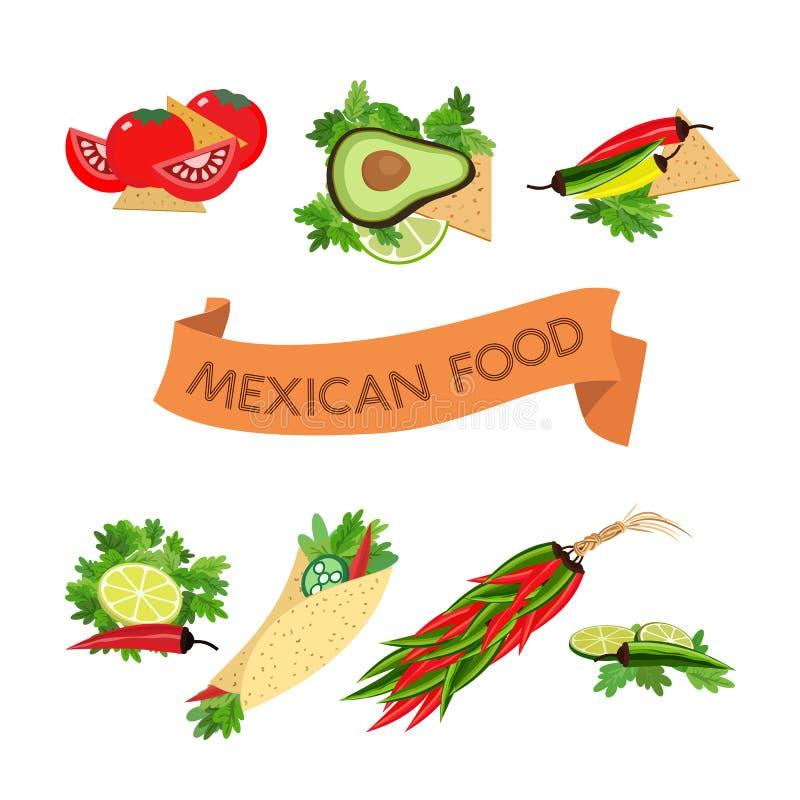 ustawić symbole Meksykański jedzenie ilustracji