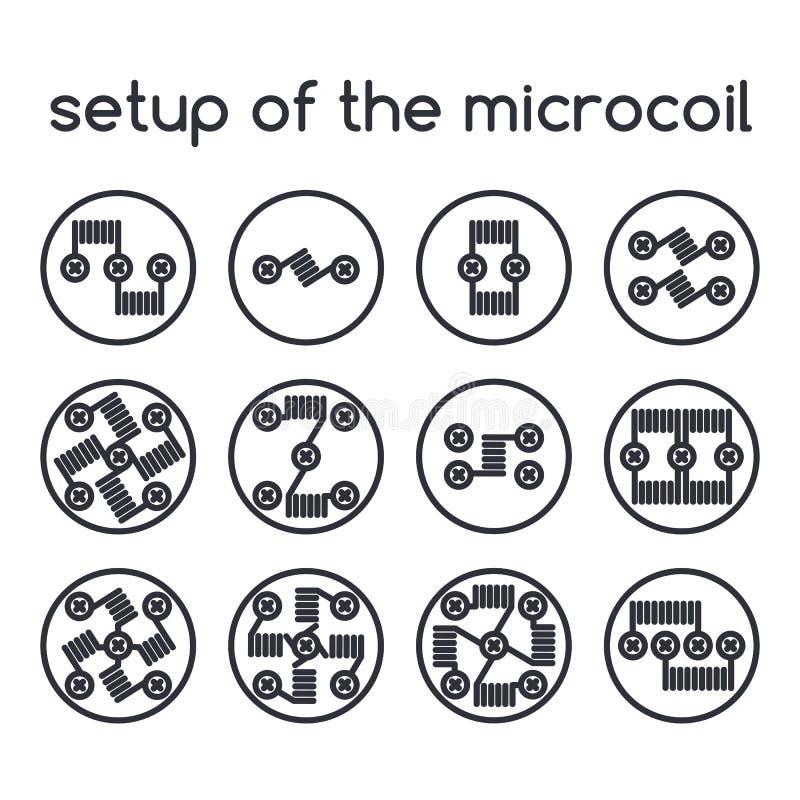 ustawić symbole Ustawianie microcoil ilustracja wektor