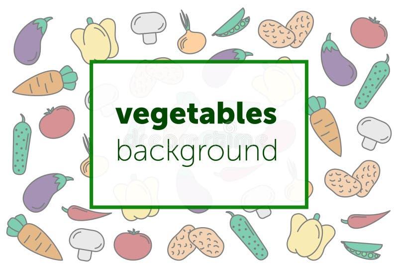 ustawi? warzywa abstrakcyjny t?o set wektorowi ikon warzywa tomate, ogórek, marchewka, pieprze, oberżyna, groch, cebula royalty ilustracja