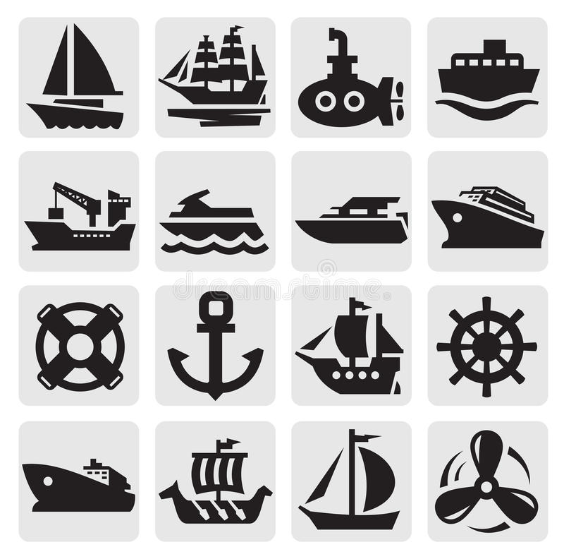 Ustawiać łodzi i statku ikony ilustracji