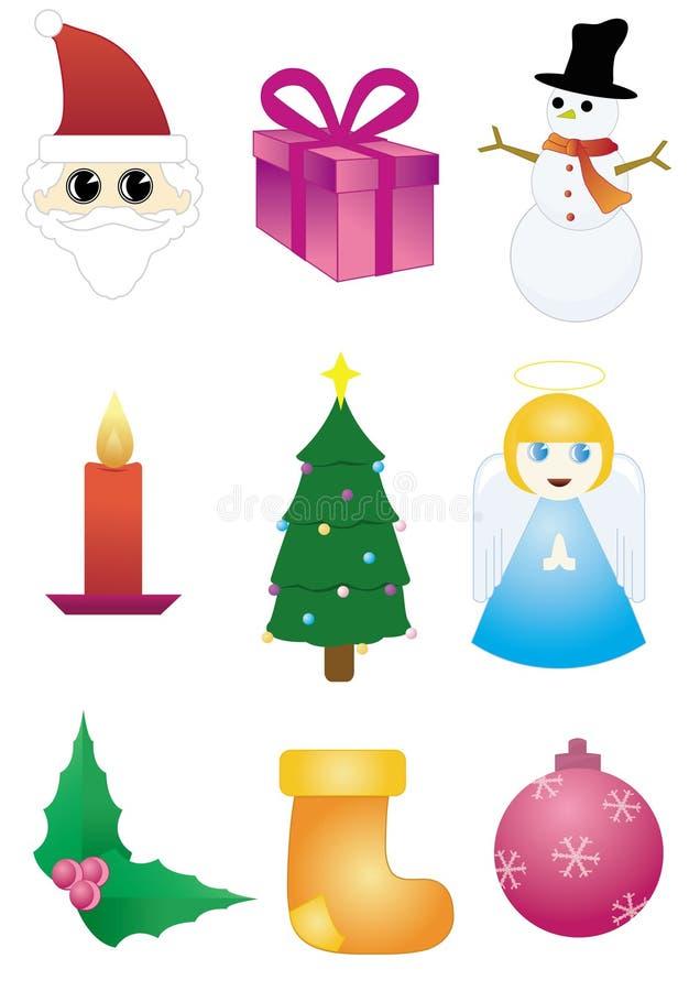 ustawiać Boże Narodzenie ikony ilustracja wektor
