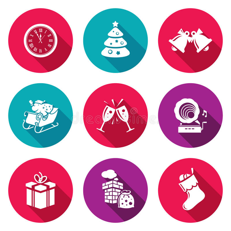 ustawiać Boże Narodzenie ikony również zwrócić corel ilustracji wektora royalty ilustracja