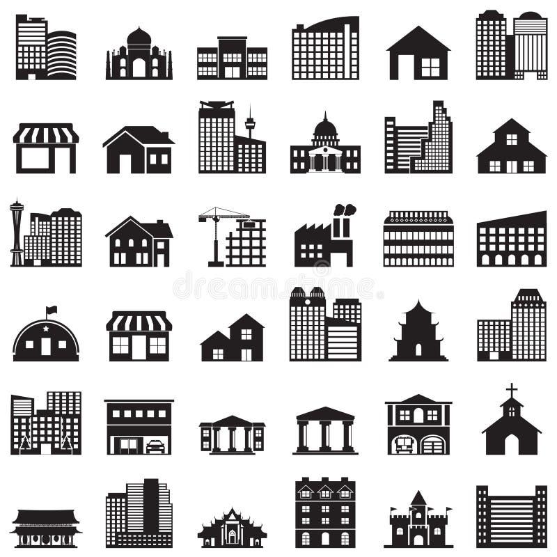ustawiać budynek ikony ilustracji