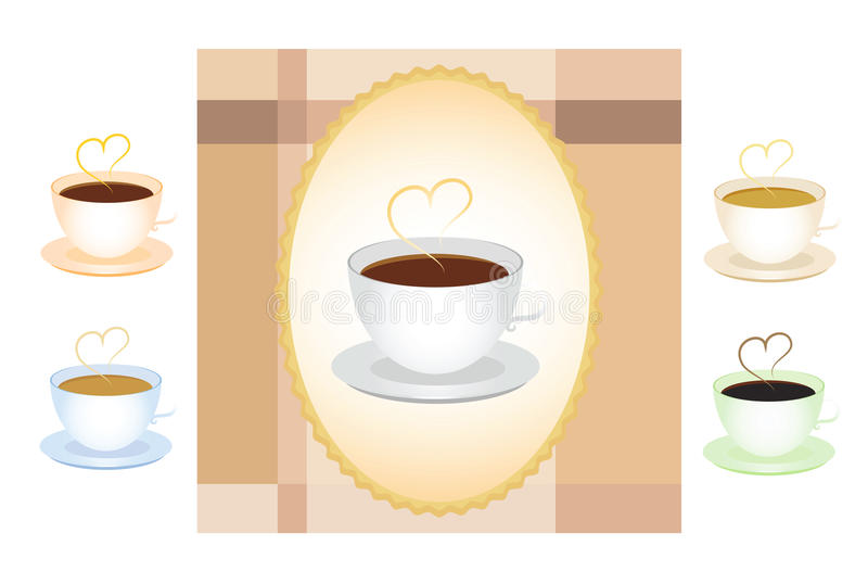 ustawiać coffe filiżanki ilustracji