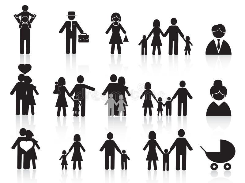 ustawiać czarny rodzinne szczęśliwe ikony ilustracji