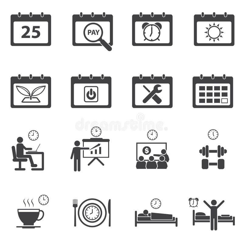 ustawiać czas kalendarzowe ikony ilustracja wektor