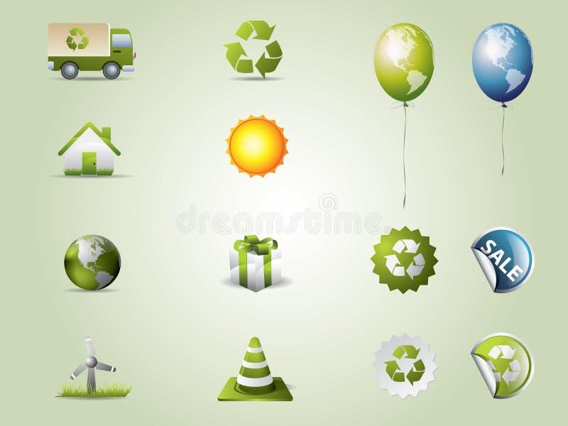 ustawiać eco ikony ilustracja wektor