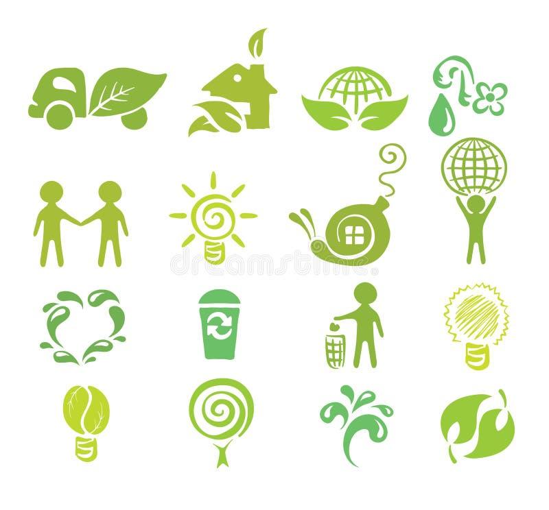 ustawiać ekologii ikony ilustracji