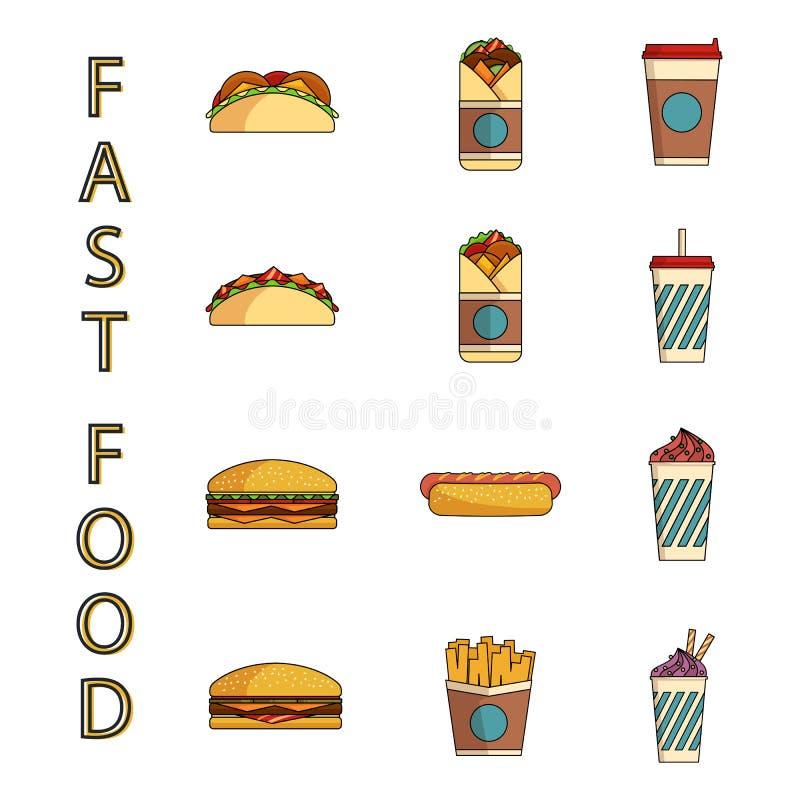 ustawiać fast food ikony royalty ilustracja