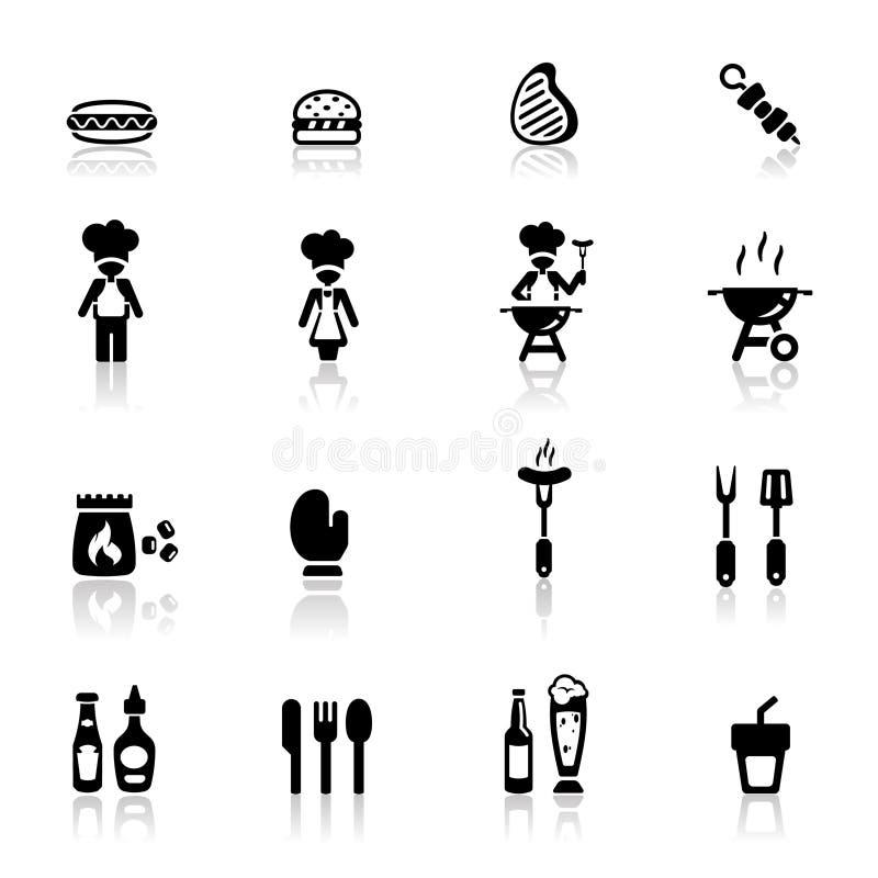 ustawiać grill ikony royalty ilustracja