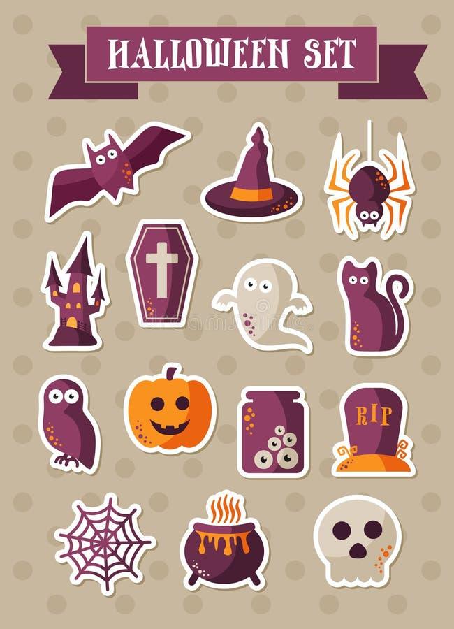 ustawiać Halloween ikony Zielony wektorowy majcher ilustracji