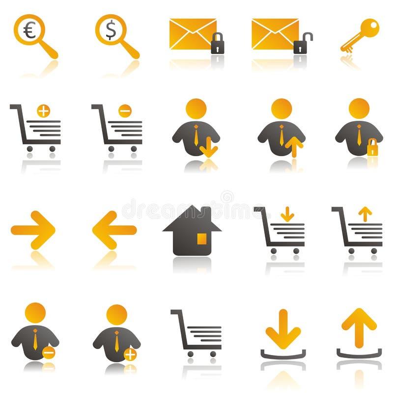 ustawiać handel elektroniczny ikony royalty ilustracja