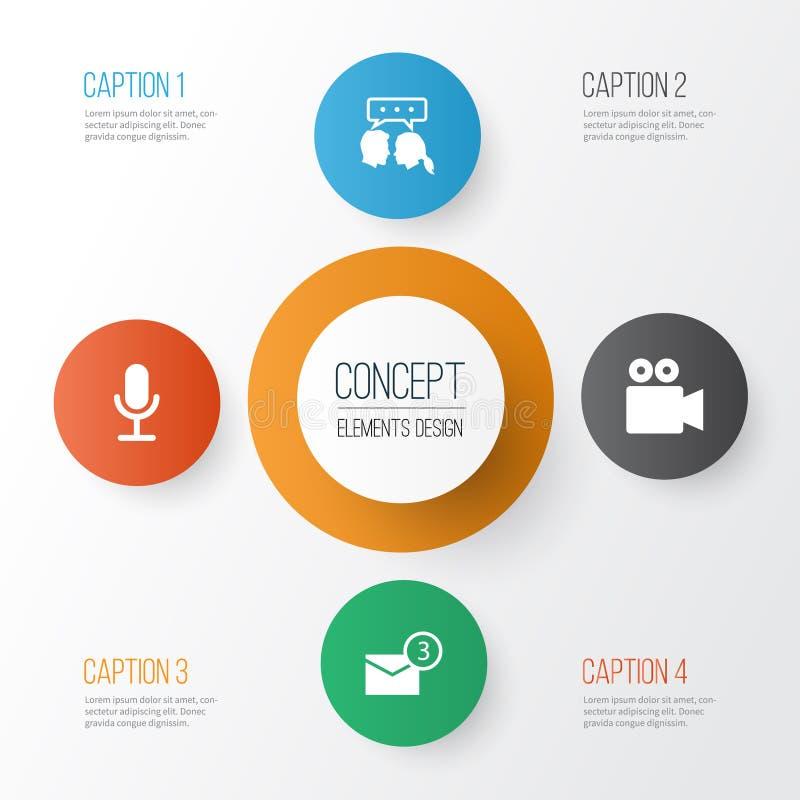 Ustawiać internetowe ikony Kolekcja kamera wideo, rozmowa, Inbox I Inni elementy, Także Zawiera symbole Tak jak Inbox royalty ilustracja