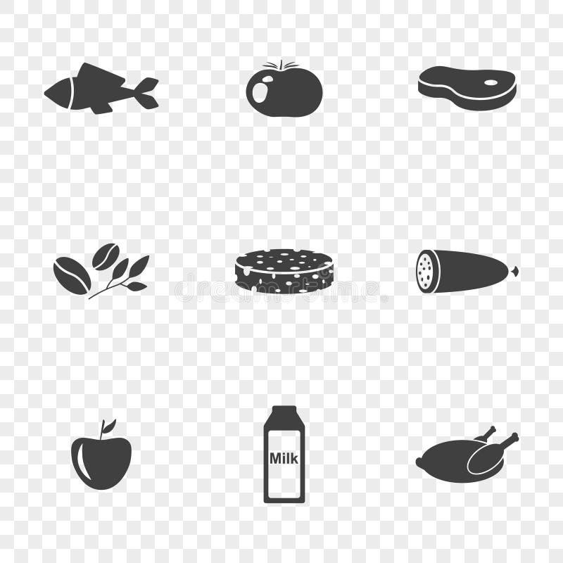 ustawiać karmowe ikony Wektor Na Przejrzystym tle ilustracja wektor