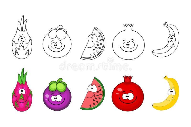 ustawiać kreskówek owoc Kolorystyki książki strony dla dzieciaków Smok owoc, ilustracja wektor