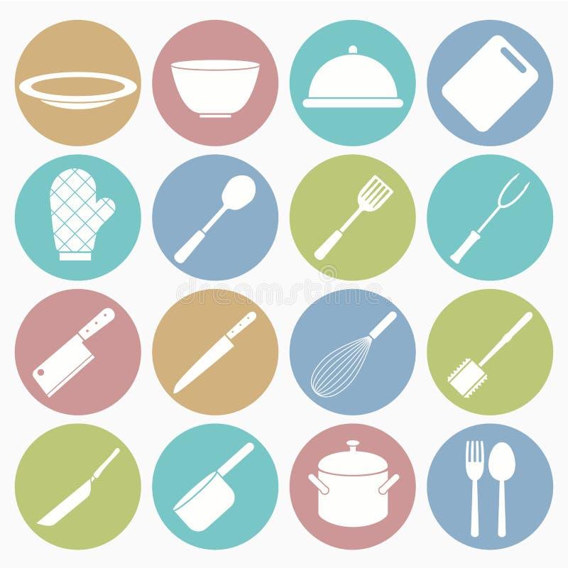 Ustawiać kuchenne ikony ilustracja wektor
