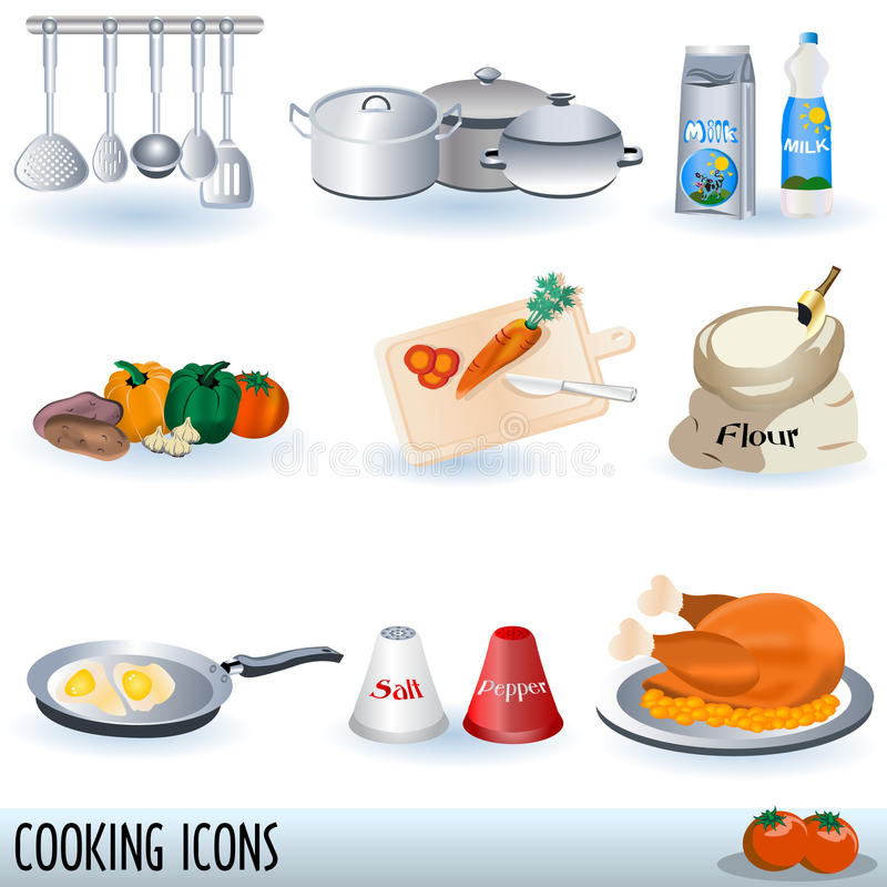 ustawiać kulinarne ikony ilustracja wektor