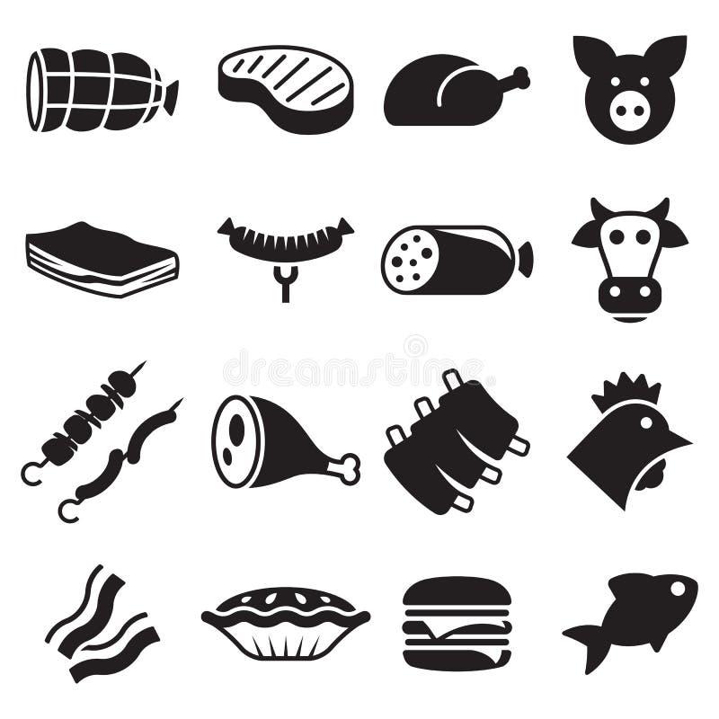 Ustawiać mięsne ikony ilustracja wektor