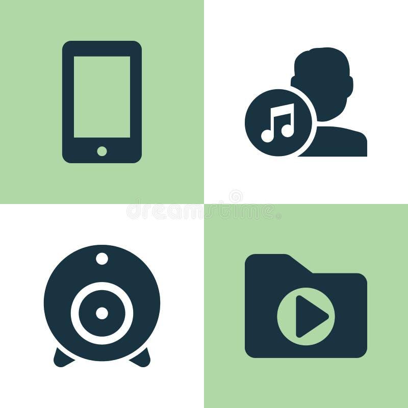 Ustawiać muzyczne ikony Kolekcja transmisja, Medialna falcówka, kompozytor I Inni elementy, Także Zawiera symbole Tak jak muzyka ilustracji
