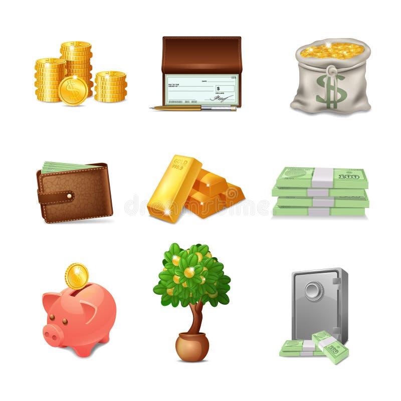 ustawiać pieniężne ikony royalty ilustracja
