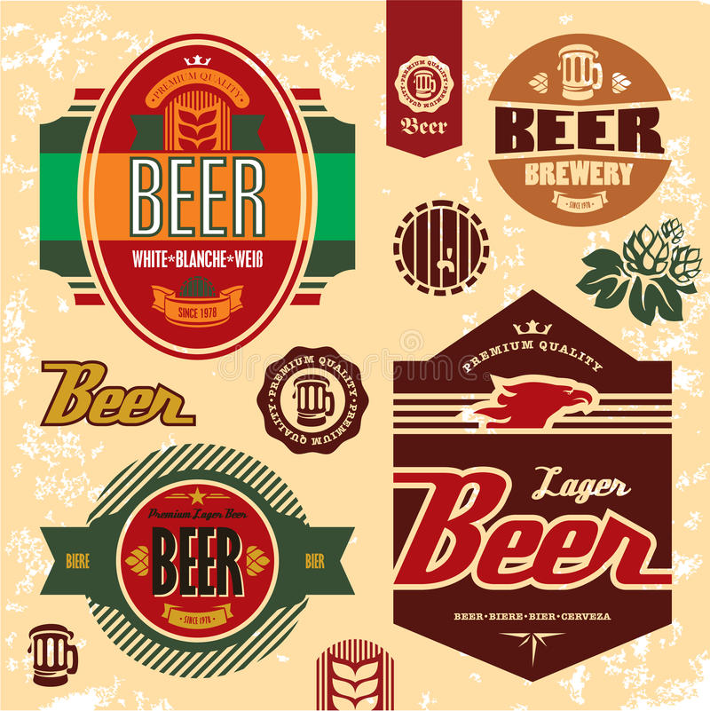 Ustawiać piwne etykietki odznaki i ikony. ilustracji