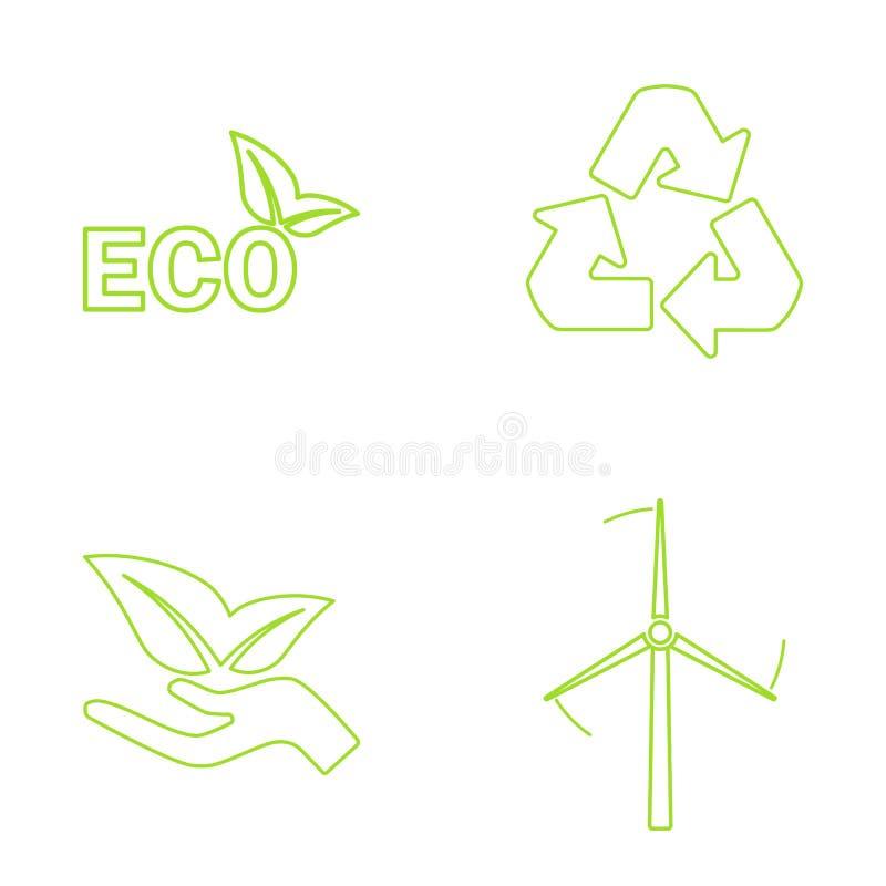 ustawiać zielone eco ikony również zwrócić corel ilustracji wektora ilustracja wektor