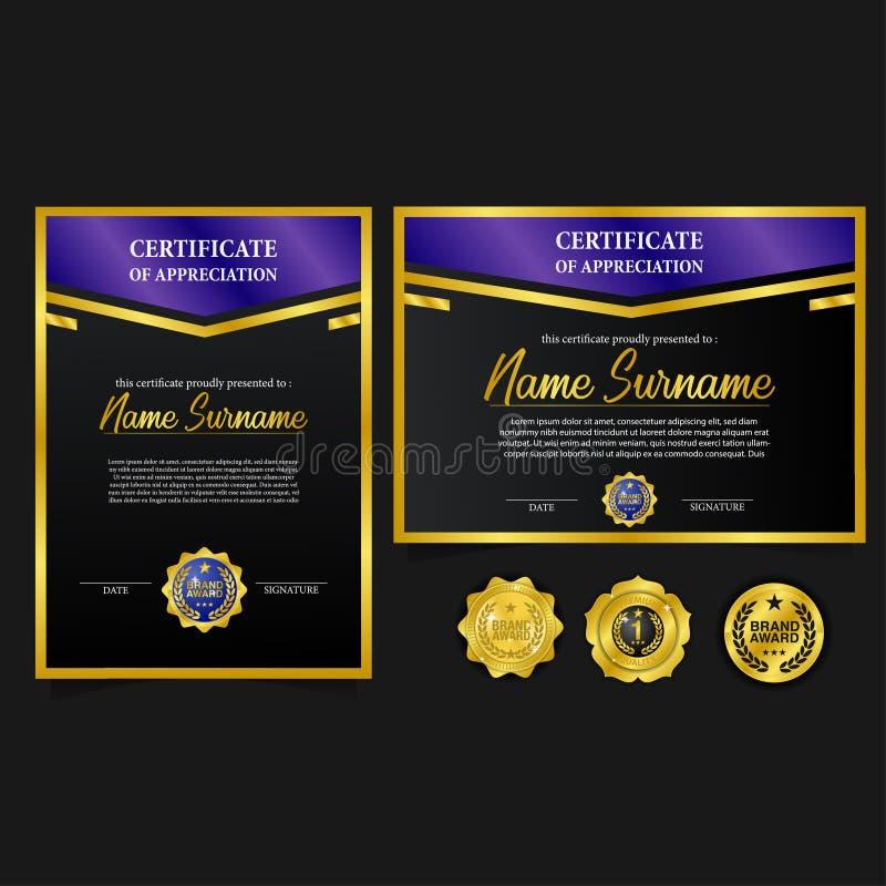 Ustawia świadectwa A4 luksusową nagrodę z złotym emblemat szpilki medalem z luksusowym spojrzeniem royalty ilustracja