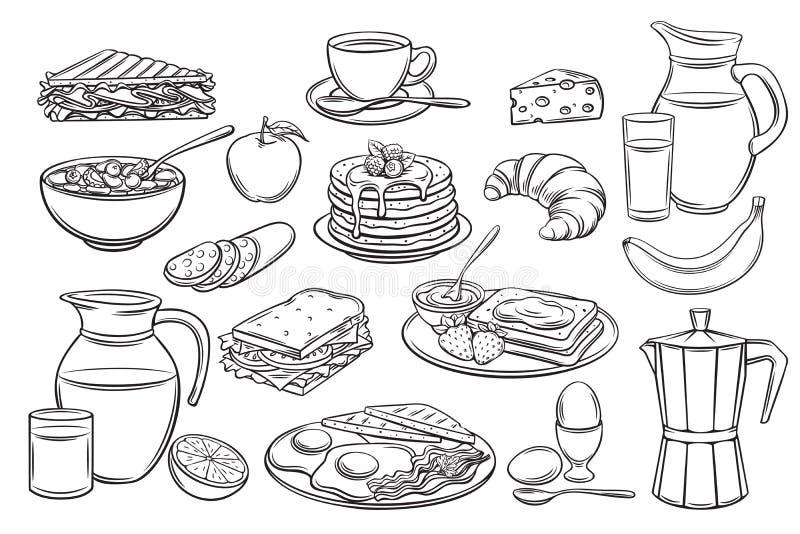 Ustawia śniadaniowe ikony ilustracji