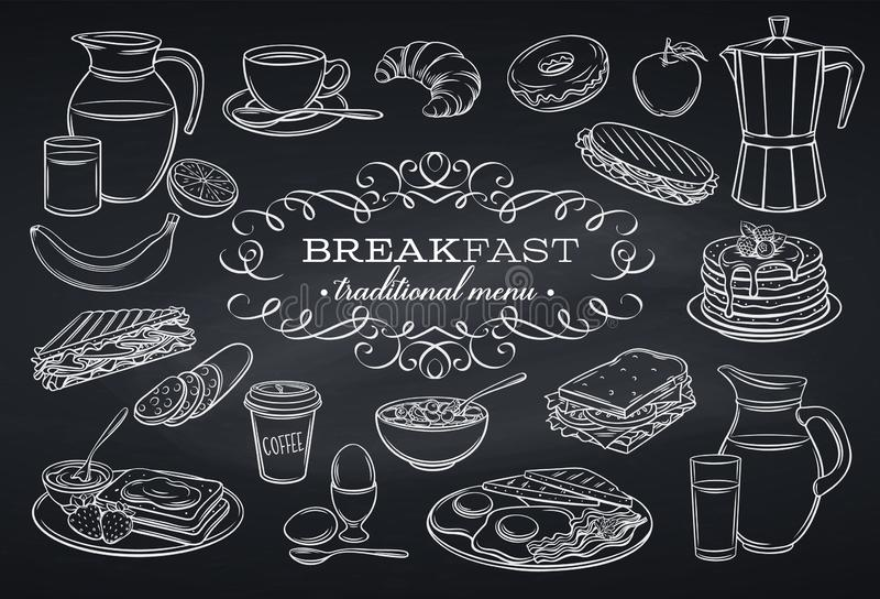Ustawia śniadaniowe ikony na chalkboard ilustracja wektor
