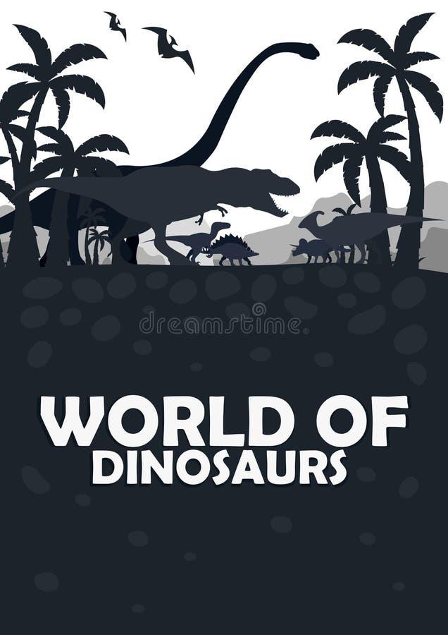 Ustawia świat dinosaury prehistoryczny świat T-rex, diplodokus, Velociraptor, Parasaurolophus, stegozaur, Triceratops _ ilustracja wektor