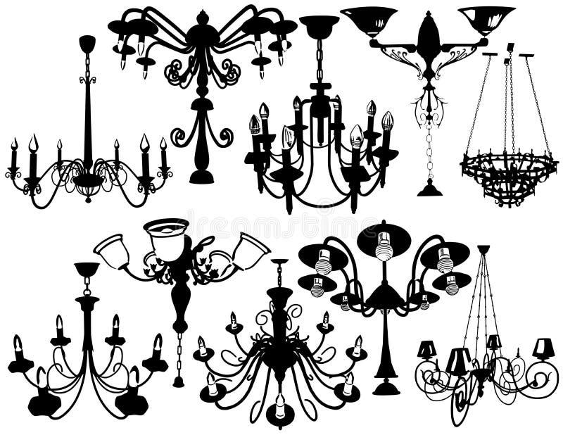 Ustawia świeczniki ilustracja wektor