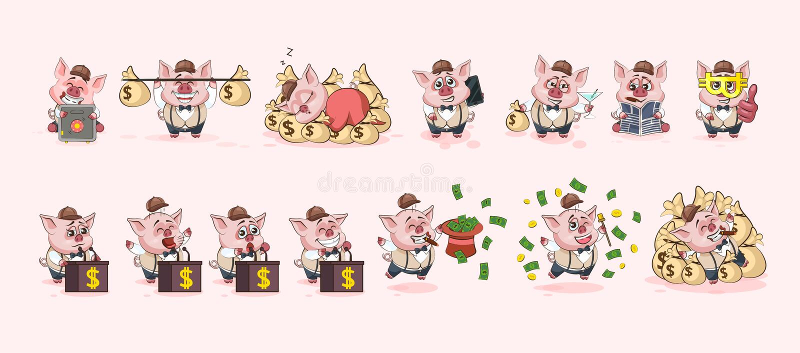 Ustawia świniowatych majcherów emoticons dla miejsca infographic royalty ilustracja