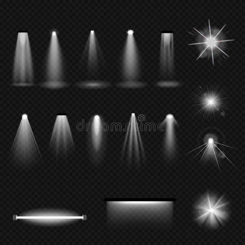 Ustawia źródła światła, zaświeca: płonące lampy, fluorowiec, fluorescencyjny, floodlight, pozafioletowy ilustracji