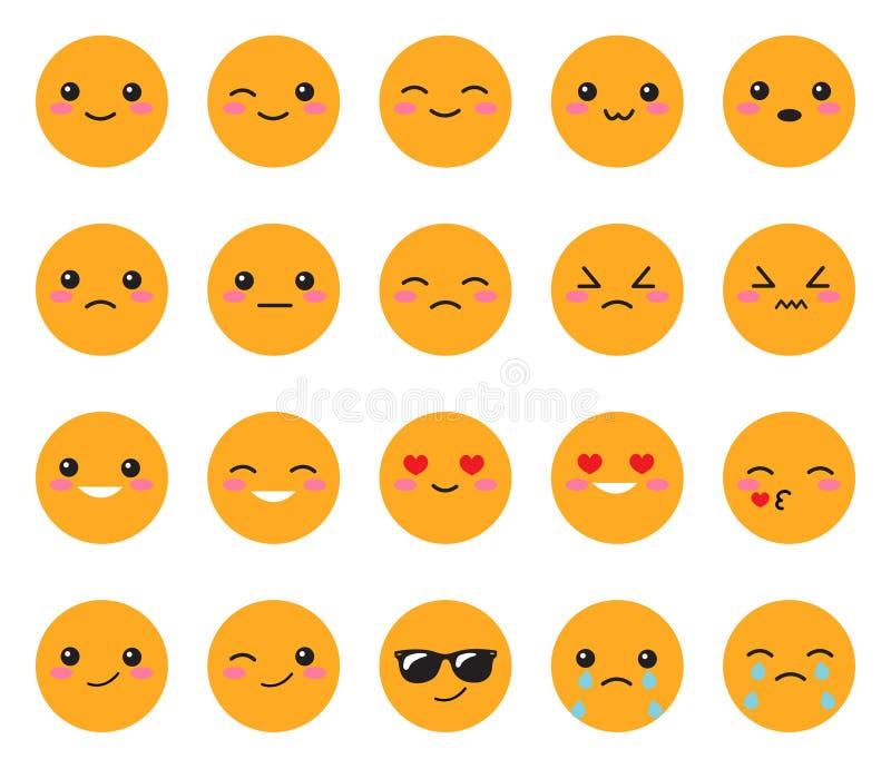 Ustawia żółtą emoci twarz Ustawia Japońskich uśmiechy Round, żółty Kawaii stawia czoło na białym tle Śliczny Inkasowy emoci anime ilustracja wektor